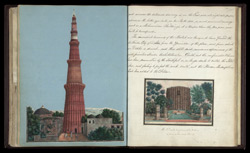 The Qutb Minar, with a trooper of Skinner's Horse below it (left), The Alai Minar, the unfinished tower at the Qutb mosque (right)